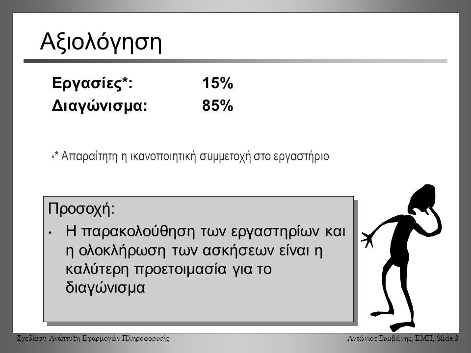 Σχεδίαση-Ανάπτυξη Εφαρμογών Πληροφορικής Αντώνιος Συμβώνης, ΕΜΠ, Slide 3 Αξιολόγηση Εργασίες*: 15% Διαγώνισμα: 85% Προσοχή: Η παρακολούθηση των εργαστηρίων και η ολοκλήρωση των ασκήσεων είναι η καλύτερη προετοιμασία για το διαγώνισμα Προσοχή: Η παρακολούθηση των εργαστηρίων και η ολοκλήρωση των ασκήσεων είναι η καλύτερη προετοιμασία για το διαγώνισμα * Απαραίτητη η ικανοποιητική συμμετοχή στο εργαστήριο