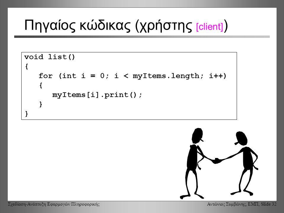 Σχεδίαση-Ανάπτυξη Εφαρμογών Πληροφορικής Αντώνιος Συμβώνης, ΕΜΠ, Slide 32 Πηγαίος κώδικας (χρήστης [client] ) void list() { for (int i = 0; i < myItems.length; i++) { myItems[i].print(); }