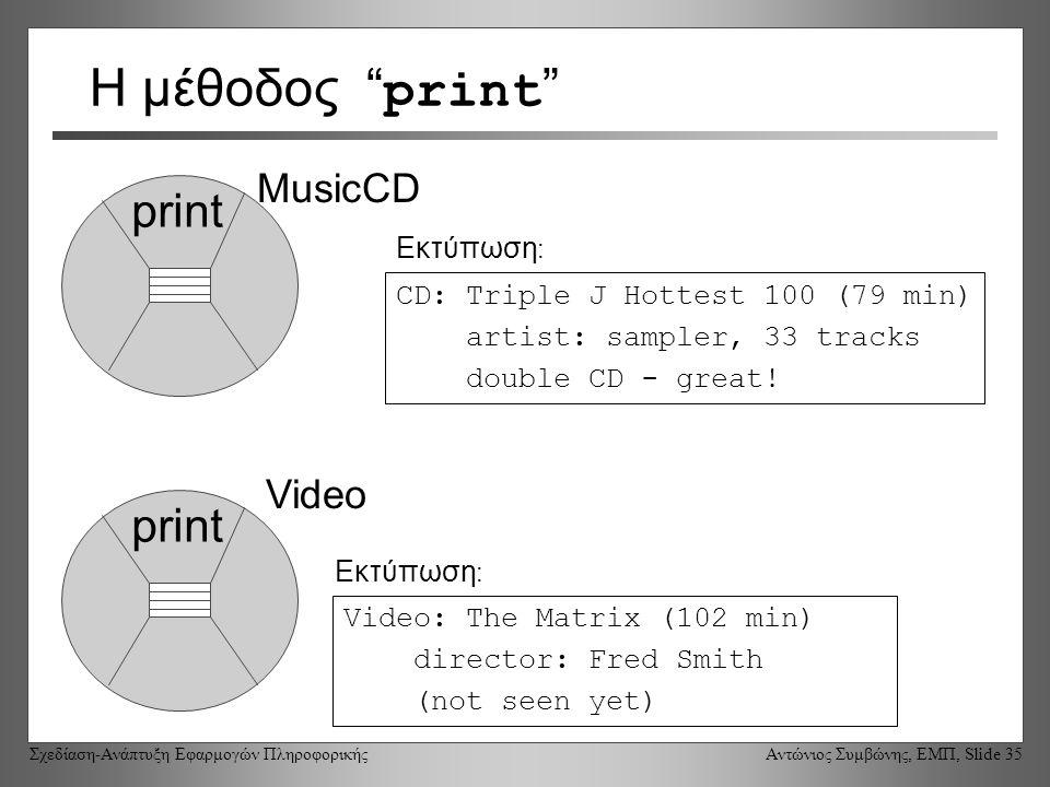 Σχεδίαση-Ανάπτυξη Εφαρμογών Πληροφορικής Αντώνιος Συμβώνης, ΕΜΠ, Slide 35 Video Η μέθοδος print print MusicCD CD: Triple J Hottest 100 (79 min) artist: sampler, 33 tracks double CD - great.