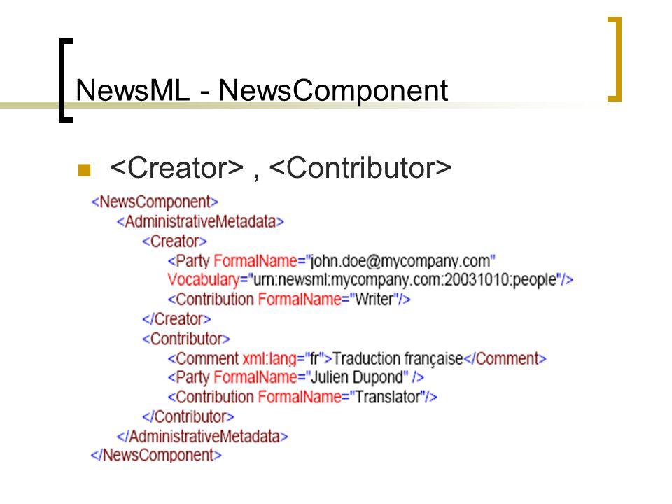 NewsML - NewsComponent Περιγραφικά μεταδεδομένα