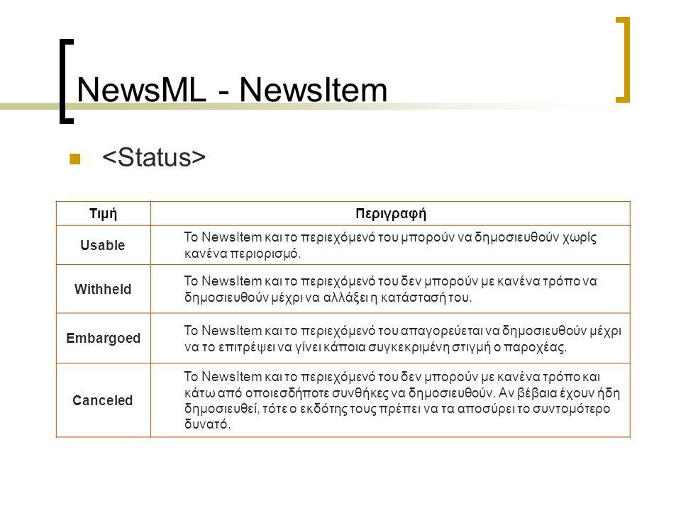 NewsML - NewsEnvelope NewsML Envelope NewsItem NewsComponent ContentItem
