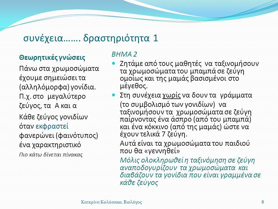 συνέχεια……. δραστηριότητα 1 Θεωρητικές γνώσεις Πάνω στα χρωμοσώματα έχουμε σημειώσει τα (αλληλόμορφα) γονίδια. Π.χ. στο μεγαλύτερο ζεύγος, τα Α και α