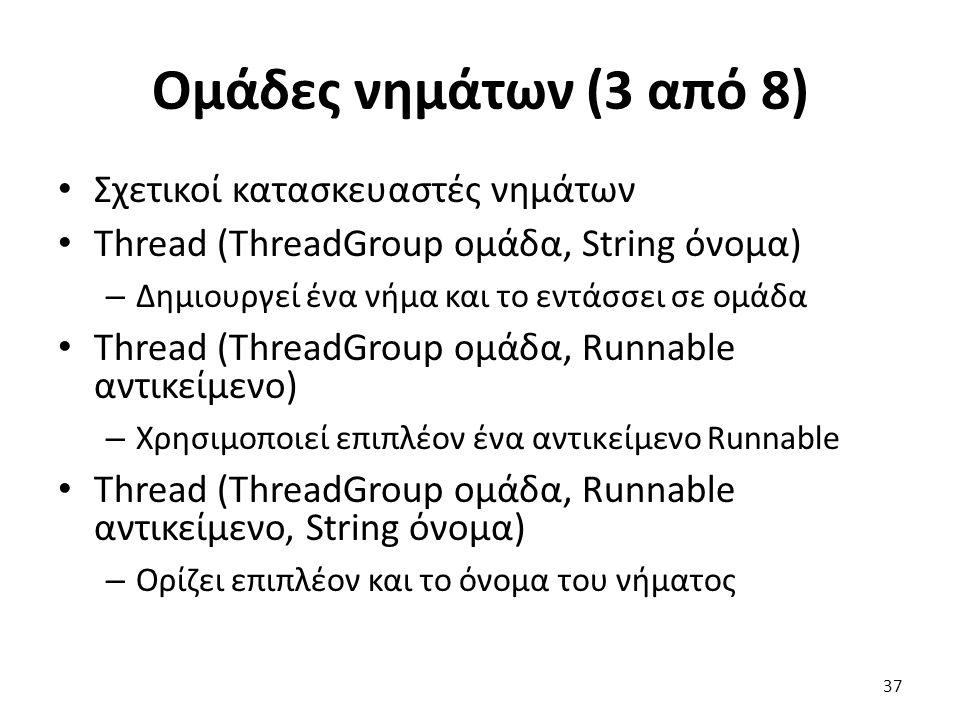 Ομάδες νημάτων (3 από 8) Σχετικοί κατασκευαστές νημάτων Thread (ThreadGroup ομάδα, String όνομα) – Δημιουργεί ένα νήμα και το εντάσσει σε ομάδα Thread (ThreadGroup ομάδα, Runnable αντικείμενο) – Χρησιμοποιεί επιπλέον ένα αντικείμενο Runnable Thread (ThreadGroup ομάδα, Runnable αντικείμενο, String όνομα) – Ορίζει επιπλέον και το όνομα του νήματος 37