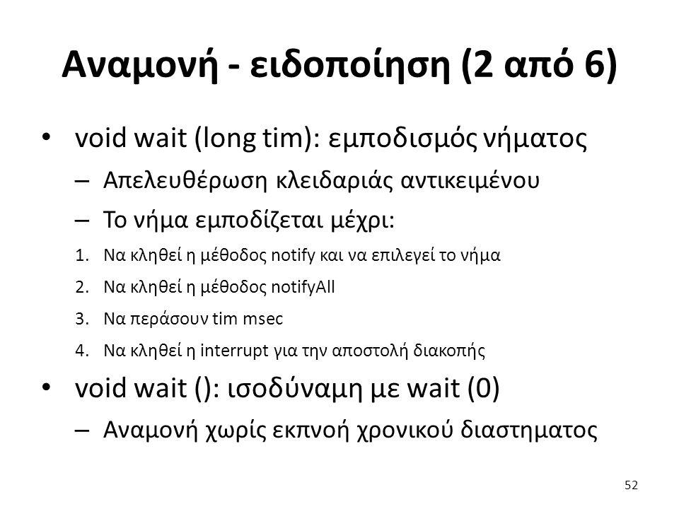 Αναμονή - ειδοποίηση (2 από 6) void wait (long tim): εμποδισμός νήματος – Απελευθέρωση κλειδαριάς αντικειμένου – Το νήμα εμποδίζεται μέχρι: 1.Να κληθεί η μέθοδος notify και να επιλεγεί το νήμα 2.Να κληθεί η μέθοδος notifyAll 3.Να περάσουν tim msec 4.Να κληθεί η interrupt για την αποστολή διακοπής void wait (): ισοδύναμη με wait (0) – Αναμονή χωρίς εκπνοή χρονικού διαστηματος 52