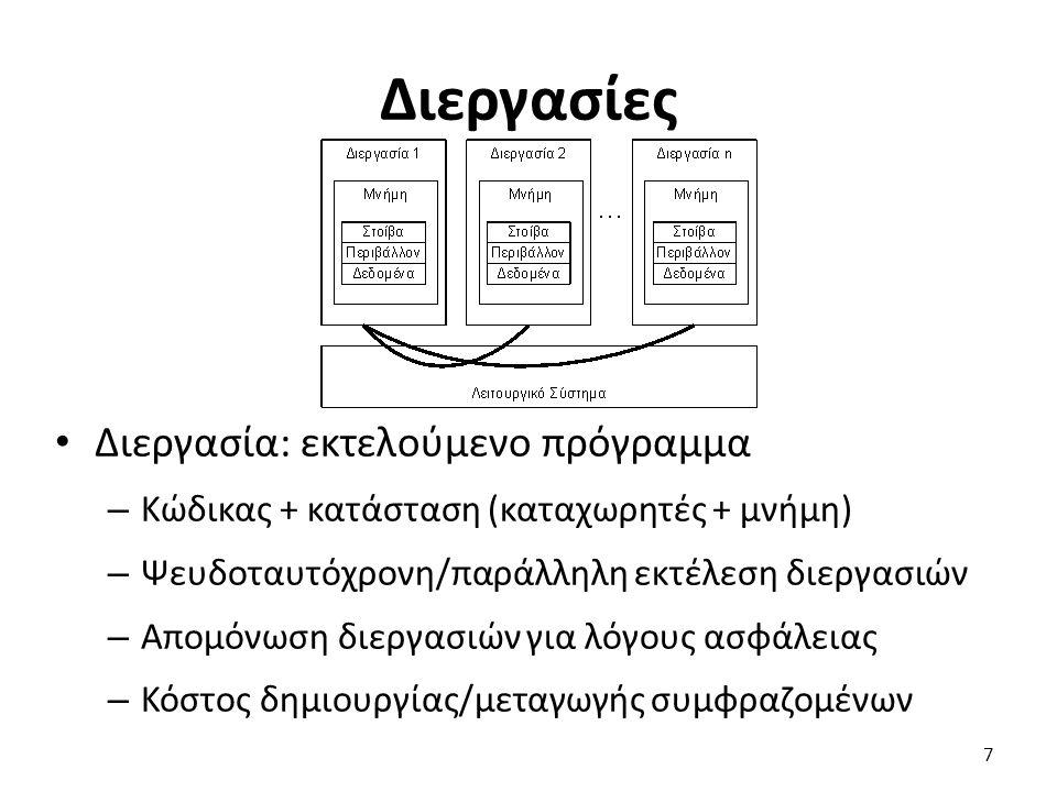 Διεργασίες Διεργασία: εκτελούμενο πρόγραμμα – Κώδικας + κατάσταση (καταχωρητές + μνήμη) – Ψευδοταυτόχρονη/παράλληλη εκτέλεση διεργασιών – Απομόνωση διεργασιών για λόγους ασφάλειας – Κόστος δημιουργίας/μεταγωγής συμφραζομένων 7