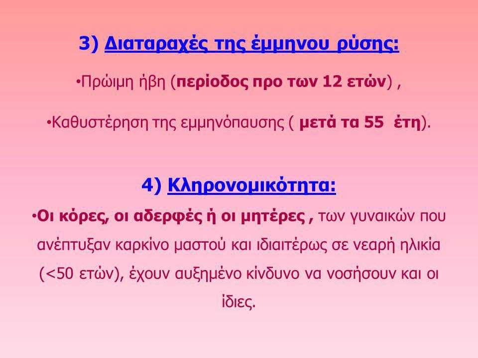3) Διαταραχές της έμμηνου ρύσης: Πρώιμη ήβη (περίοδος προ των 12 ετών), Καθυστέρηση της εμμηνόπαυσης ( μετά τα 55 έτη). 4) Κληρονομικότητα: Οι κόρες,