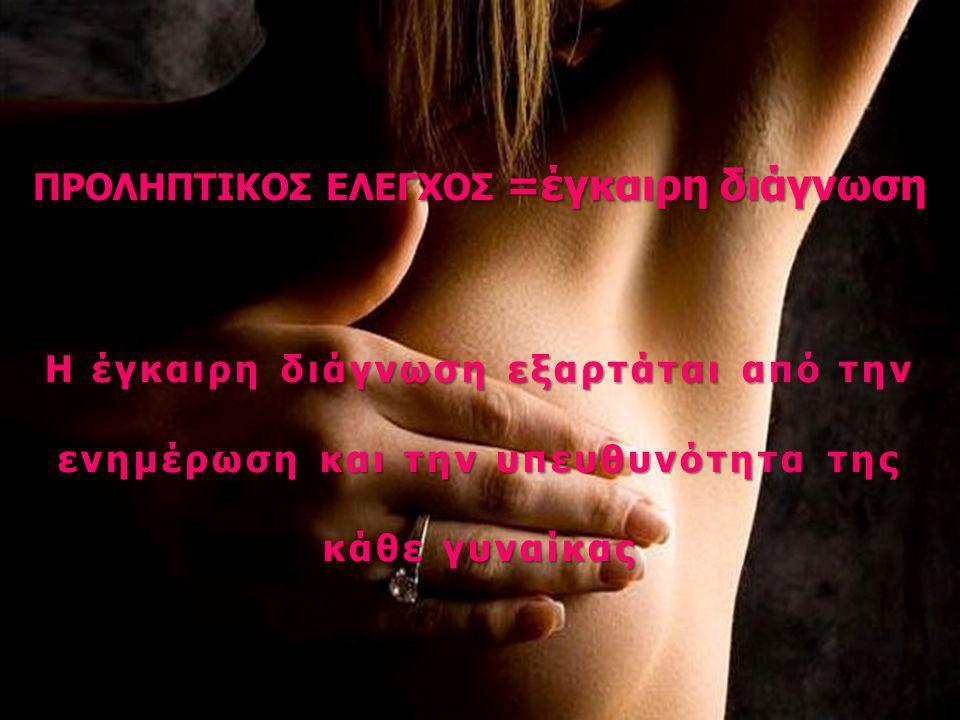 ΠΡΟΛΗΠΤΙΚΟΣ ΕΛΕΓΧΟΣ =έγκαιρη διάγνωση Η έγκαιρη διάγνωση εξαρτάται από την ενημέρωση και την υπευθυνότητα της κάθε γυναίκας