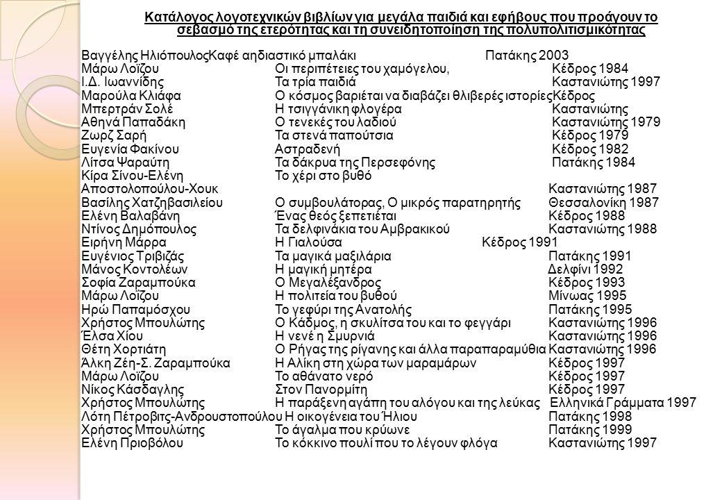 Κατάλογος λογοτεχνικών βιβλίων για μεγάλα παιδιά και εφήβους που προάγουν το σεβασμό της ετερότητας και τη συνειδητοποίηση της πολυπολιτισμικότητας Βαγγέλης ΗλιόπουλοςΚαφέ αηδιαστικό μπαλάκι Πατάκης 2003 Μάρω Λοϊζου Οι περιπέτειες του χαμόγελου, Κέδρος 1984 Ι.Δ.