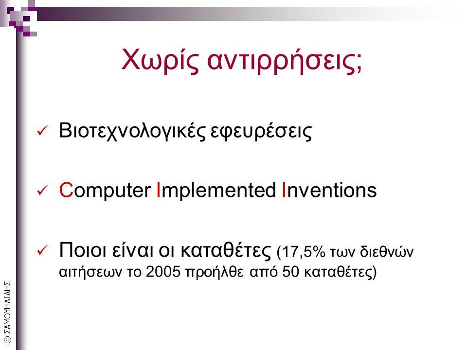 © ΣΑΜΟΥΗΛΙΔΗΣ Χωρίς αντιρρήσεις; Βιοτεχνολογικές εφευρέσεις Computer Implemented Inventions Ποιοι είναι οι καταθέτες (17,5% των διεθνών αιτήσεων το 2005 προήλθε από 50 καταθέτες)
