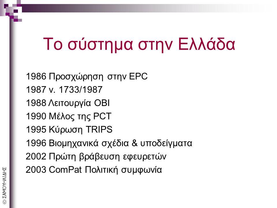 © ΣΑΜΟΥΗΛΙΔΗΣ Το σύστημα στην Ελλάδα 1986 Προσχώρηση στην EPC 1987 ν.