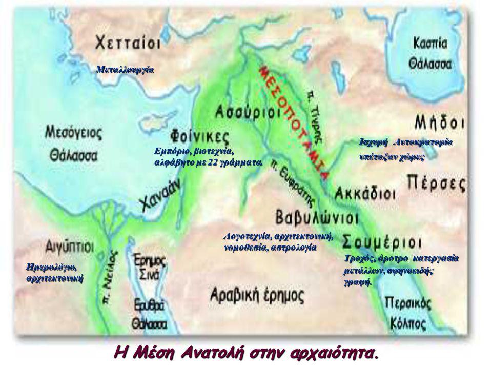 Η Μέση Ανατολή στην αρχαιότητα. Μεταλλουργία ΙσχυρήΑυτοκρατορία υπέταξανχώρες Ισχυρή Αυτοκρατορία, υπέταξαν χώρες Τροχός, άροτρο, κ κκ κατεργασία μετά