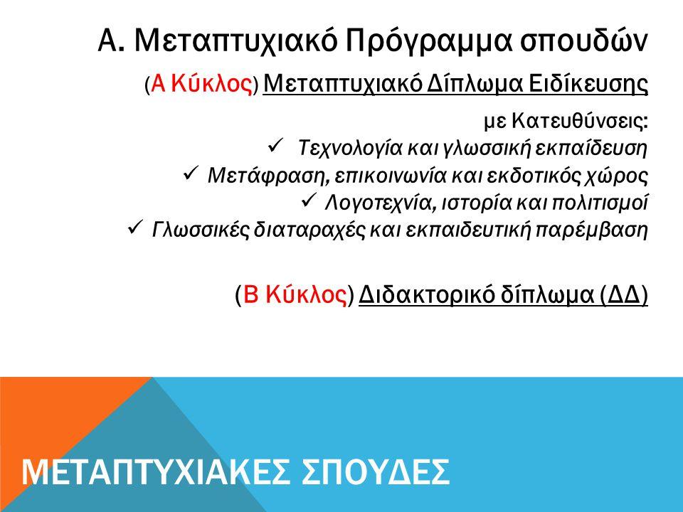 Μεταπτυχιακά Προγράμματα Σπουδών στην Ελλάδα και το εξωτερικό στους τομείς:  Γλωσσοδιδακτική/Γλωσσοτεχνολογία  Μετάφραση/Διερμηνεία  Νευρογλωσσολογία/ Κλινική Γλωσσολογία  Ευρωπαϊκή Λογοτεχνία και Πολιτισμός Μεταπτυχιακές Σπουδές – Έρευνα