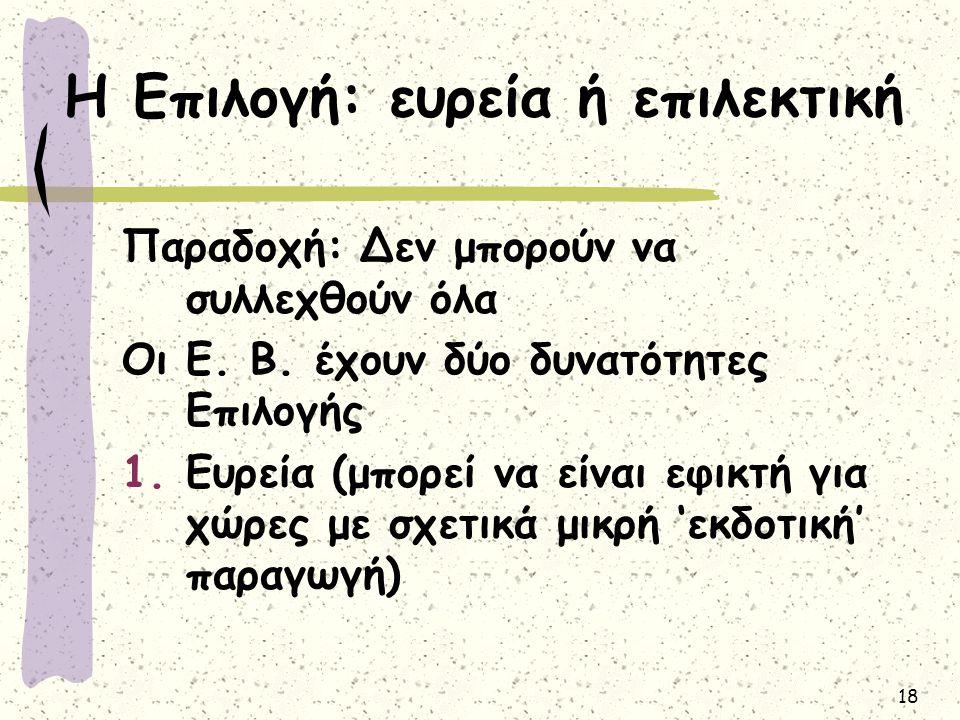 18 Η Επιλογή: ευρεία ή επιλεκτική Παραδοχή: Δεν μπορούν να συλλεχθούν όλα Οι Ε. Β. έχουν δύο δυνατότητες Επιλογής 1.Ευρεία (μπορεί να είναι εφικτή για