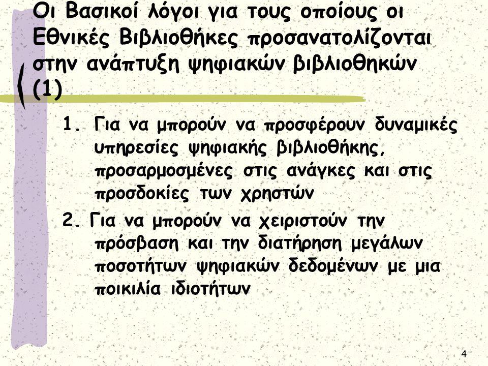 5 Οι Βασικοί λόγοι για τους οποίους οι Εθνικές Βιβλιοθήκες προσανατολίζονται στην ανάπτυξη ψηφιακών βιβλιοθηκών (2) 3.