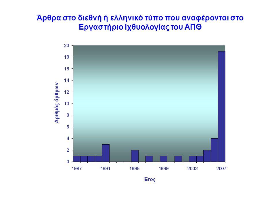 Άρθρα στο διεθνή ή ελληνικό τύπο που αναφέρονται στο Εργαστήριο Ιχθυολογίας του ΑΠΘ