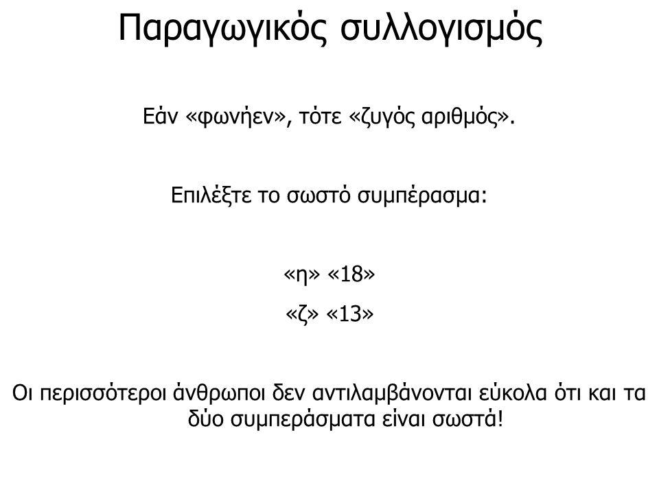Παραγωγικός συλλογισμός Εάν «φωνήεν», τότε «ζυγός αριθμός». Επιλέξτε το σωστό συμπέρασμα: «η» «18» «ζ» «13» Οι περισσότεροι άνθρωποι δεν αντιλαμβάνοντ