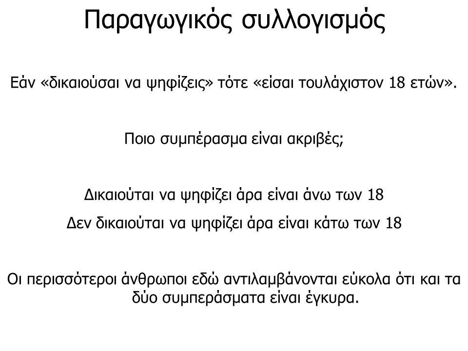 Παραγωγικός συλλογισμός Εάν «δικαιούσαι να ψηφίζεις» τότε «είσαι τουλάχιστον 18 ετών». Ποιο συμπέρασμα είναι ακριβές; Δικαιούται να ψηφίζει άρα είναι