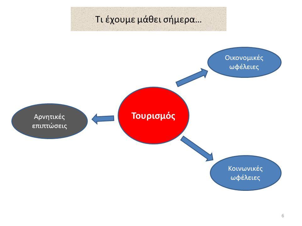 Αξιολόγηση 1.Γράψετε 4 οικονομικές ωφέλειες από την ανάπτυξη του τουρισμού στην Κύπρο.