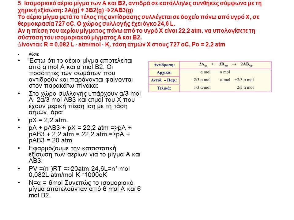 5. Ισομοριακό αέριο μίγμα των Α και Β2, αντιδρά σε κατάλληλες συνθήκες σύμφωνα με τη χημική εξίσωση: 2Α(g) + 3Β2(g)  2ΑΒ3(g) Το αέριο μίγμα μετά το τ