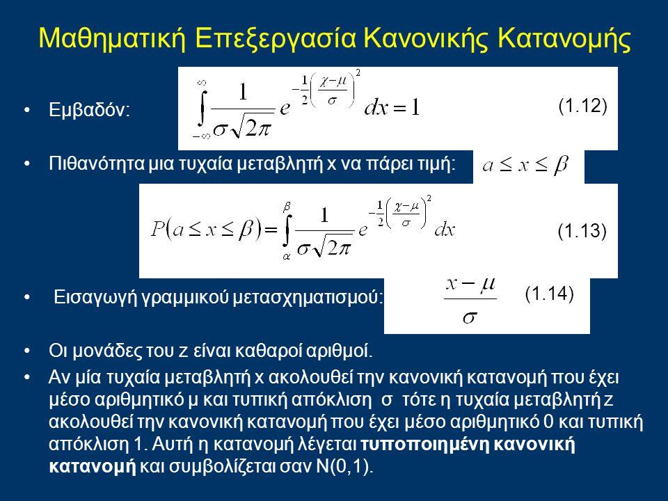 Eμβαδόν: Πιθανότητα μια τυχαία μεταβλητή x να πάρει τιμή: Εισαγωγή γραμμικού μετασχηματισμού: z = Οι μονάδες του z είναι καθαροί αριθμοί. Αν μία τυχαί