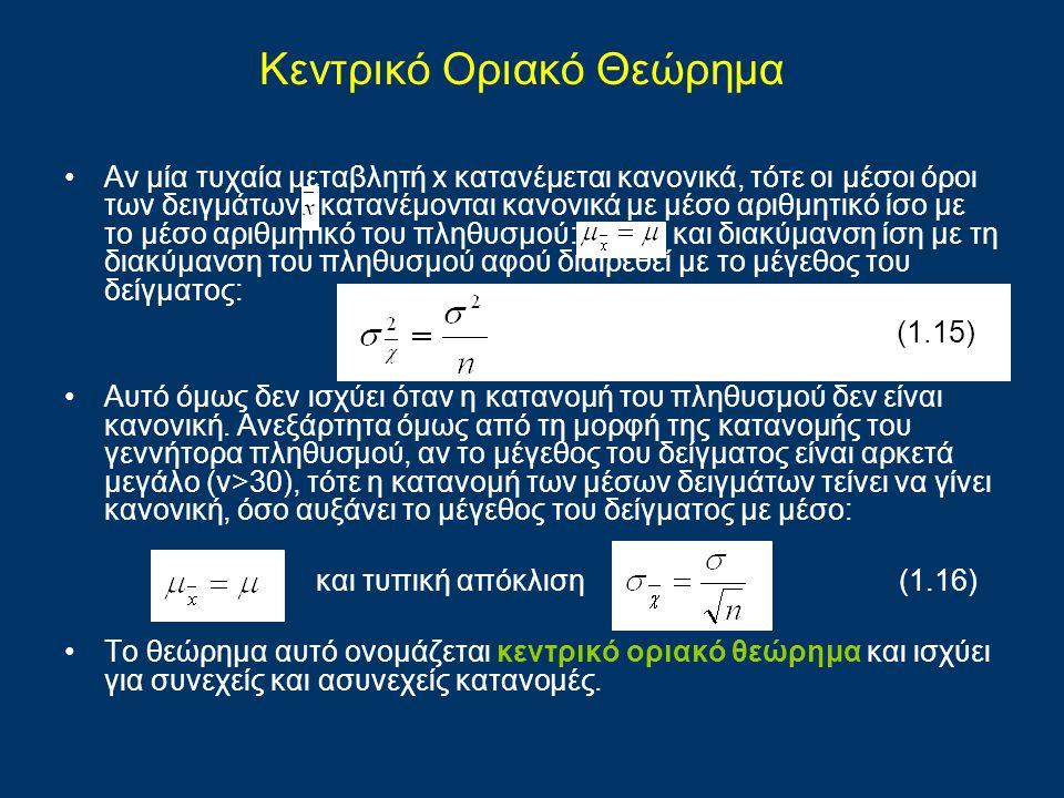 Αν μία τυχαία μεταβλητή x κατανέμεται κανονικά, τότε οι μέσοι όροι των δειγμάτων κατανέμονται κανονικά με μέσο αριθμητικό ίσο με το μέσο αριθμητικό το