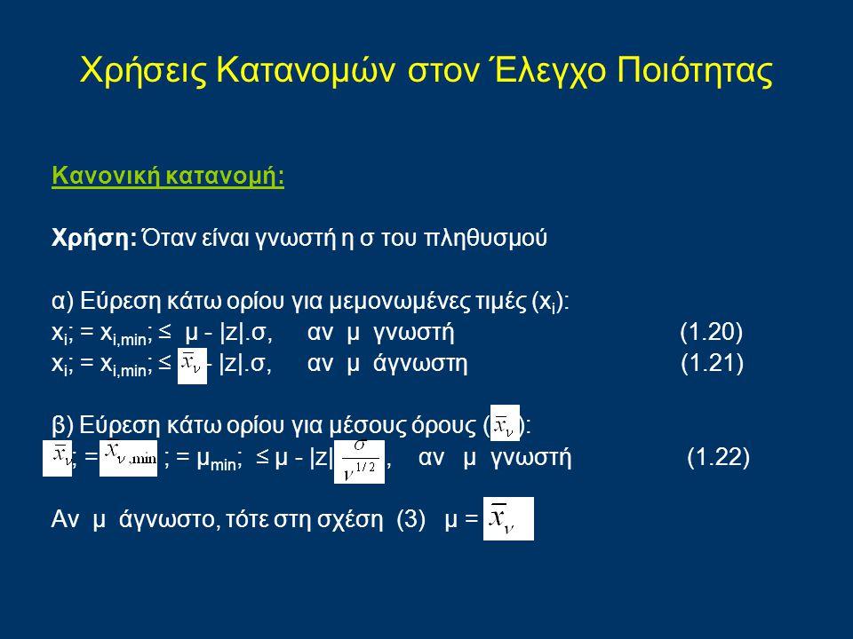 Κανονική κατανομή: Χρήση: Όταν είναι γνωστή η σ του πληθυσμού α) Εύρεση κάτω ορίου για μεμονωμένες τιμές (x i ): x i ; = x i,min ; ≤ μ -  z .σ,αν μ γν