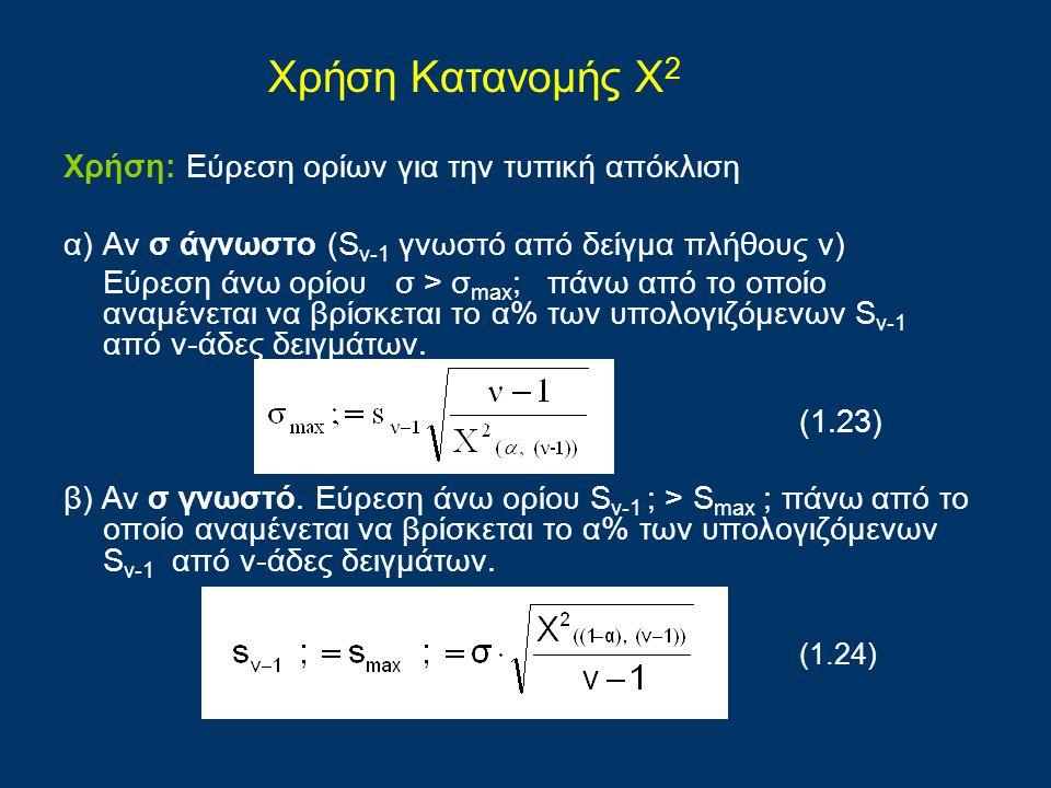 Χρήση: Εύρεση ορίων για την τυπική απόκλιση α) Αν σ άγνωστο (S v-1 γνωστό από δείγμα πλήθους ν) Εύρεση άνω ορίου σ > σ max ; πάνω από το οποίο αναμένε