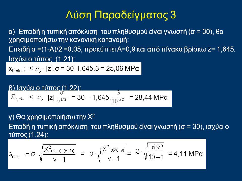 Λύση Παραδείγματος 3 α) Επειδή η τυπική απόκλιση του πληθυσμού είναι γνωστή (σ = 30), θα χρησιμοποιήσω την κανονική κατανομή: Επειδή α =(1-Α)/2 =0,05,