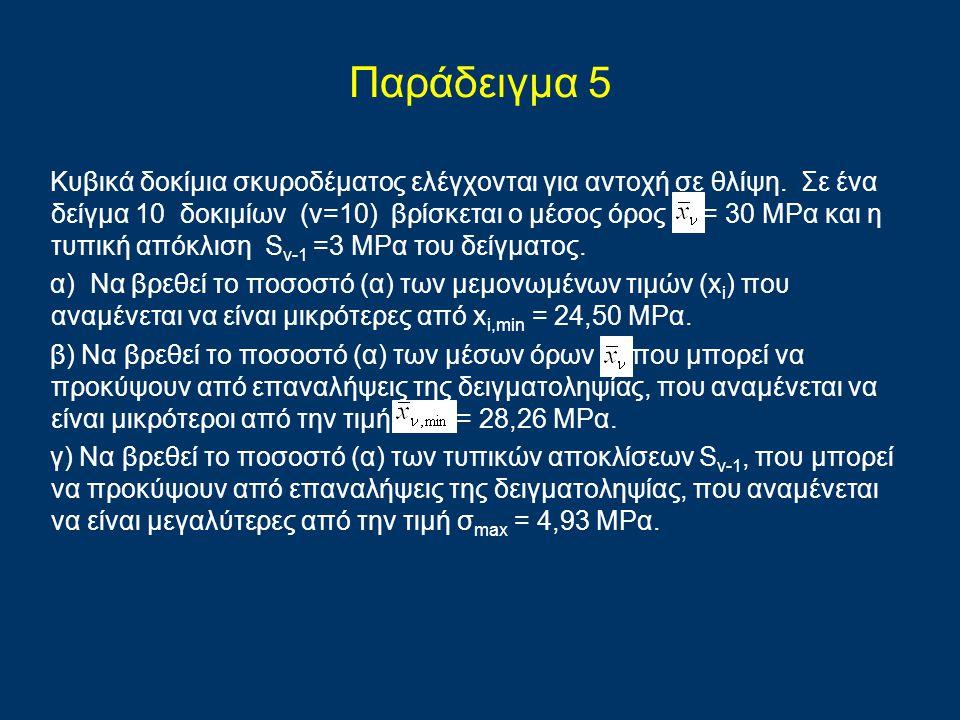 Παράδειγμα 5 Κυβικά δοκίμια σκυροδέματος ελέγχονται για αντοχή σε θλίψη. Σε ένα δείγμα 10 δοκιμίων (ν=10) βρίσκεται ο μέσος όρος = 30 ΜΡα και η τυπική