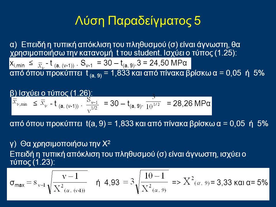 Λύση Παραδείγματος 5 α) Επειδή η τυπική απόκλιση του πληθυσμού (σ) είναι άγνωστη, θα χρησιμοποιήσω την κατανομή t του student. Ισχύει ο τύπος (1.25):