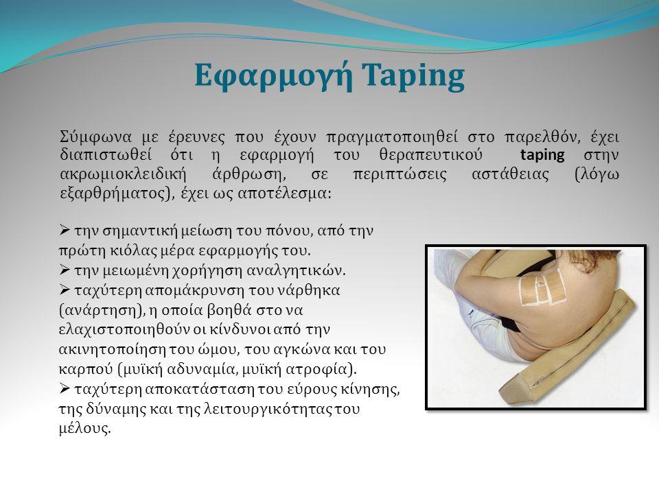Εφαρμογή Taping Σύμφωνα με έρευνες που έχουν πραγματοποιηθεί στο παρελθόν, έχει διαπιστωθεί ότι η εφαρμογή του θεραπευτικού taping στην ακρωμιοκλειδικ