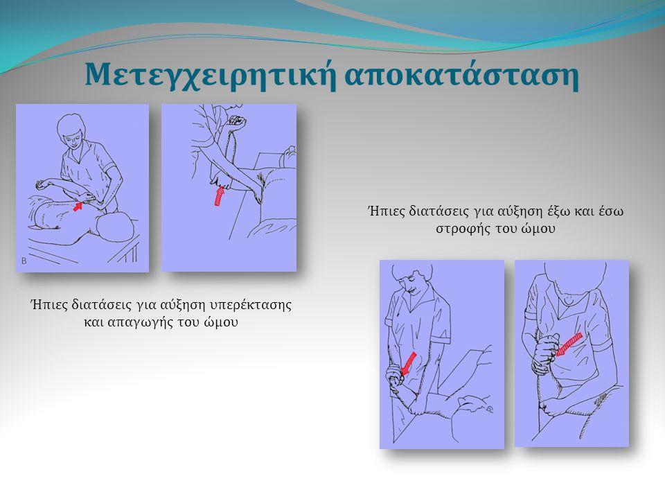 Μετεγχειρητική αποκατάσταση Ήπιες διατάσεις για αύξηση υπερέκτασης και απαγωγής του ώμου Ήπιες διατάσεις για αύξηση έξω και έσω στροφής του ώμου