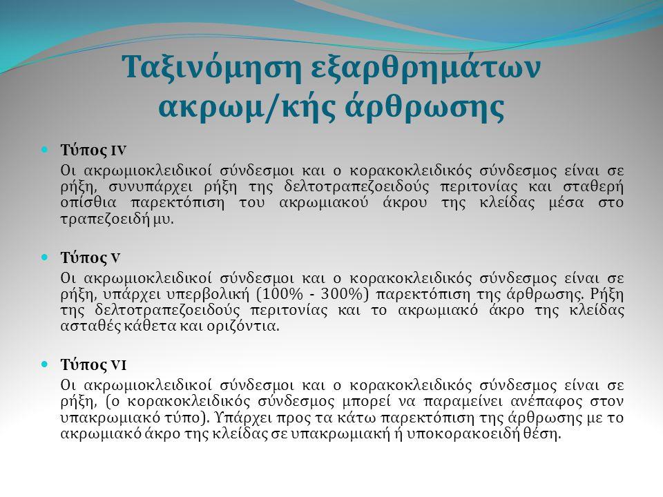 Μετεγχειρητική αποκατάσταση Τύπου (ΙII), IV, V, VI ακρωμιοκλειδικό εξάρθρημα Φάση 1 η (0 – 2 η εβδομάδα ) Οι στόχοι του σταδίου αυτού είναι : μείωση του πόνου και της φλεγμονής αναχαίτιση μυϊκής ατροφίας επανάκτηση πλήρους ανώδυνου εύρους κίνησης Για την επίτευξη των στόχων αυτών εφαρμόζουμε: κρυοθεραπεία (πάγος), φαρμακευτική αγωγή (αντιφλεγμονώδη φάρμακα) και φυσικά μέσα (υπέρηχοι, laser, T.E.N.S) αυτοβοηθούμενες ασκήσεις εύρους κίνησης με τη χρησιμοποίηση ράβδου.