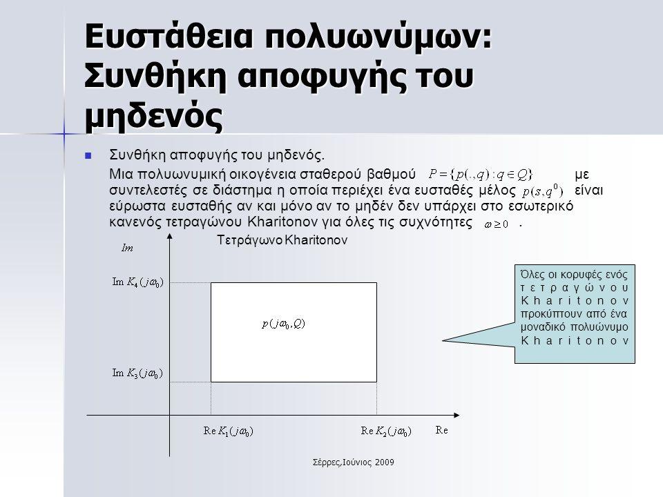 Σέρρες,Ιούνιος 2009 Ευστάθεια πολυωνύμων: Συνθήκη αποφυγής του μηδενός Συνθήκη αποφυγής του μηδενός.