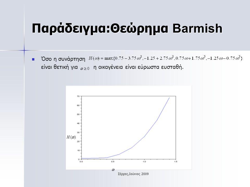 Σέρρες,Ιούνιος 2009 Παράδειγμα:Θεώρημα Barmish Όσο η συνάρτηση είναι θετική για η οικογένεια είναι εύρωστα ευσταθή.