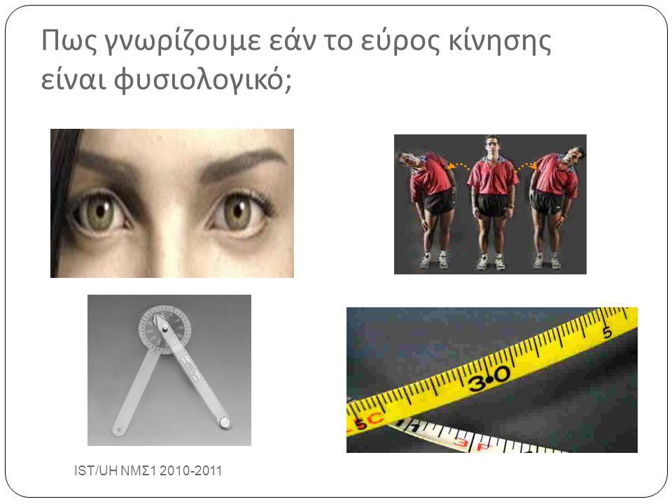 Πως γνωρίζουμε εάν το εύρος κίνησης είναι φυσιολογικό ; IST/UH ΝΜΣ1 2010-2011 11