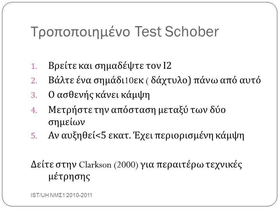 Τροποποιημένο Test Schober IST/UH ΝΜΣ1 2010-2011 27 1. Βρείτε και σημαδέψτε τον Ι 2 2. Βάλτε ένα σημάδι 10 εκ ( δάχτυλο ) πάνω από αυτό 3. Ο ασθενής κ