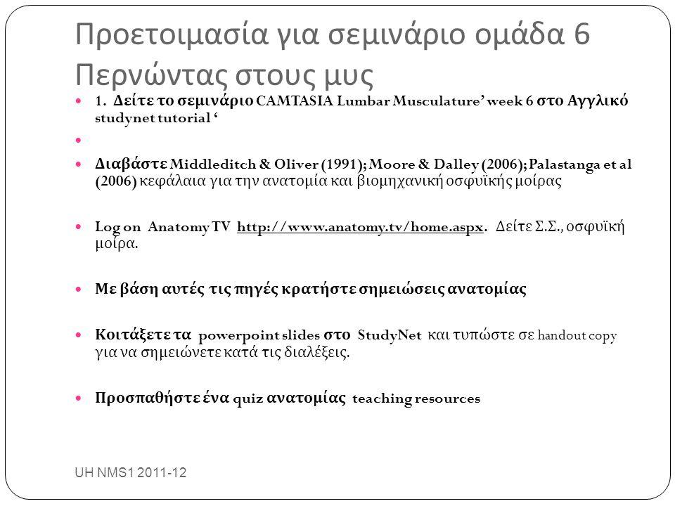 Προετοιμασία για σεμινάριο ομάδα 6 Περνώντας στους μυς UH NMS1 2011-12 36 1. Δείτε το σεμινάριο CAMTASIA Lumbar Musculature' week 6 στο Αγγλικό studyn