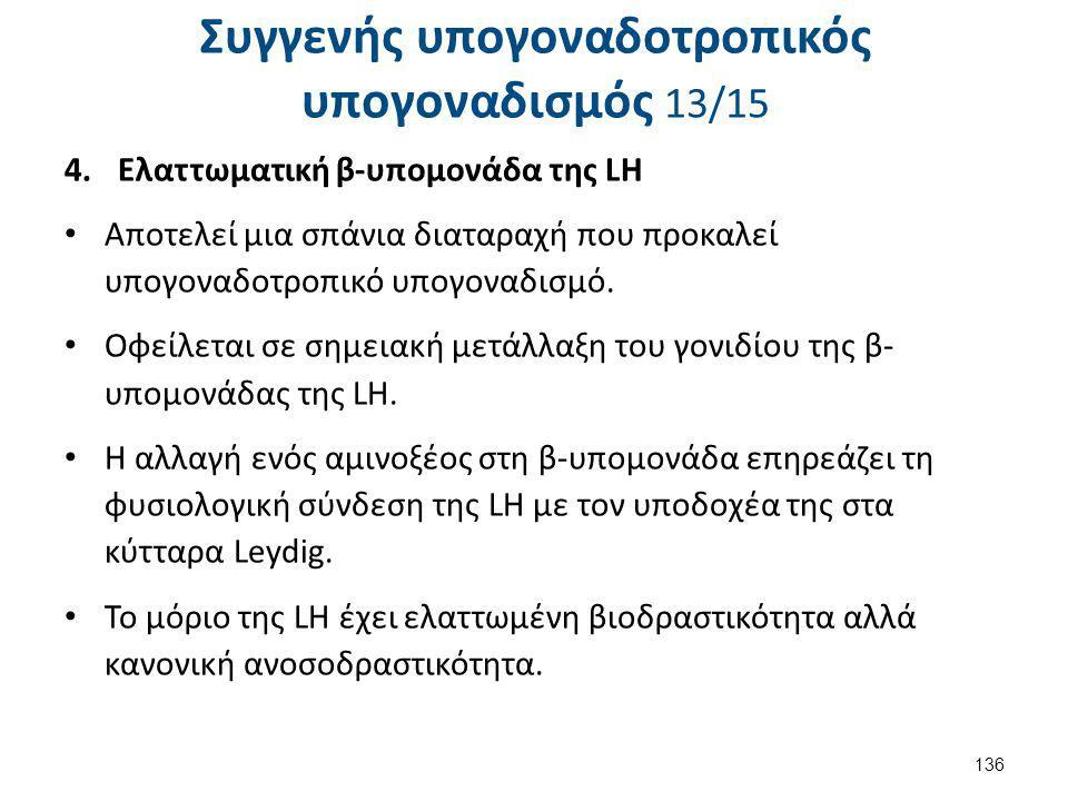 Συγγενής υπογοναδοτροπικός υπογοναδισμός 13/15 4.Ελαττωματική β-υπομονάδα της LΗ Αποτελεί μια σπάνια διαταραχή που προκαλεί υπογοναδοτροπικό υπογοναδι