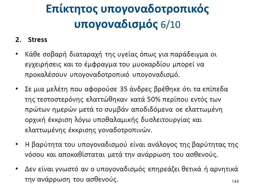 Επίκτητος υπογοναδοτροπικός υπογοναδισμός 6/10 2.Stress Κάθε σοβαρή διαταραχή της υγείας όπως για παράδειγμα οι εγχειρήσεις και το έμφραγμα του μυοκαρ