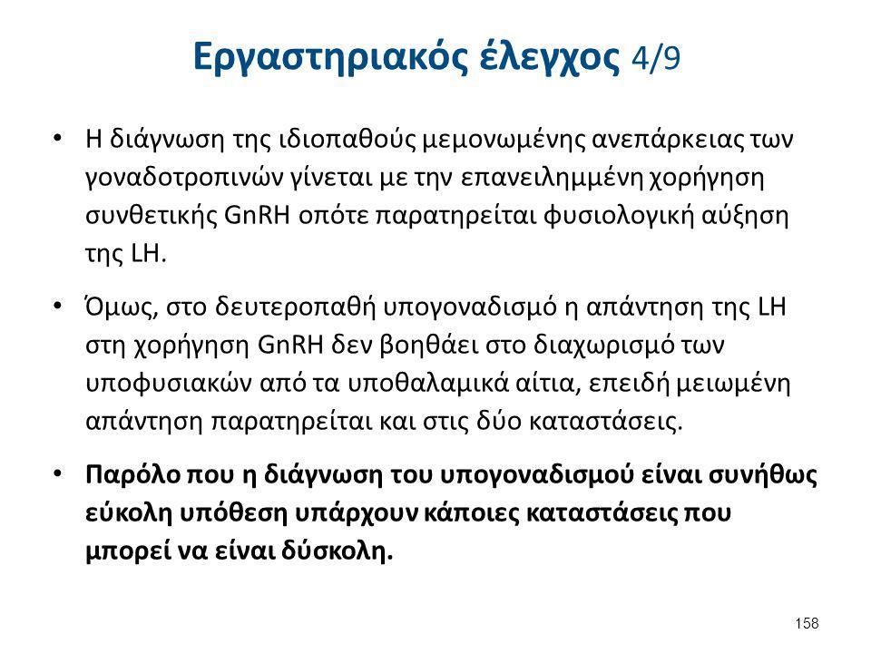 Εργαστηριακός έλεγχος 4/9 Η διάγνωση της ιδιοπαθούς μεμονωμένης ανεπάρκειας των γοναδοτροπινών γίνεται με την επανειλημμένη χορήγηση συνθετικής GnRΗ ο