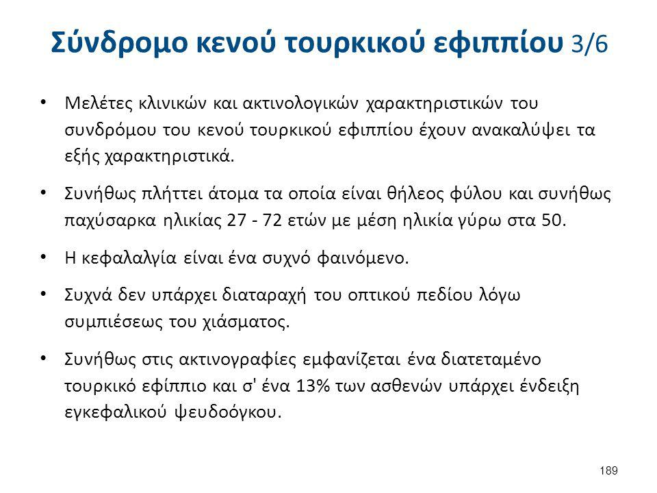 Σύνδρομο κενού τουρκικού εφιππίου 3/6 Μελέτες κλινικών και ακτινολογικών χαρακτηριστικών του συνδρόμου του κενού τουρκικού εφιππίου έχουν ανακαλύψει τ