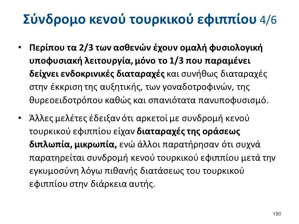 Σύνδρομο κενού τουρκικού εφιππίου 4/6 Περίπου τα 2/3 των ασθενών έχουν ομαλή φυσιολογική υποφυσιακή λειτουργία, μόνο το 1/3 που παραμένει δείχνει ενδο