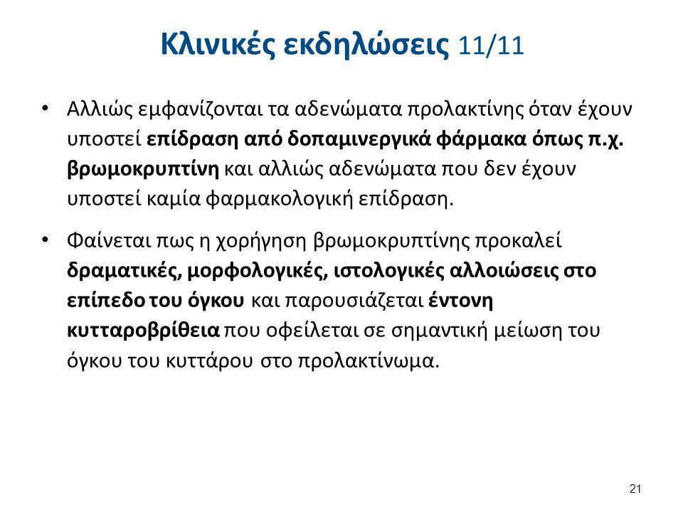 Κλινικές εκδηλώσεις 11/11 Αλλιώς εμφανίζονται τα αδενώματα προλακτίνης όταν έχουν υποστεί επίδραση από δοπαμινεργικά φάρμακα όπως π.χ. βρωμοκρυπτίνη κ