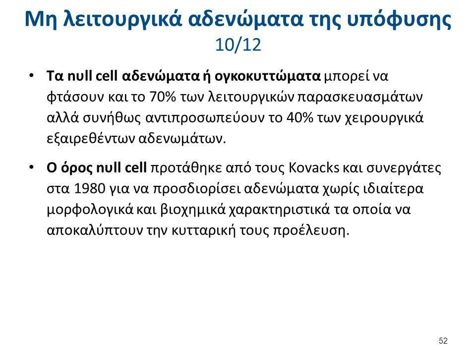 Μη λειτουργικά αδενώματα της υπόφυσης 10/12 Τα nυll cell αδενώματα ή ογκοκυττώματα μπορεί να φτάσουν και το 70% των λειτουργικών παρασκευασμάτων αλλά