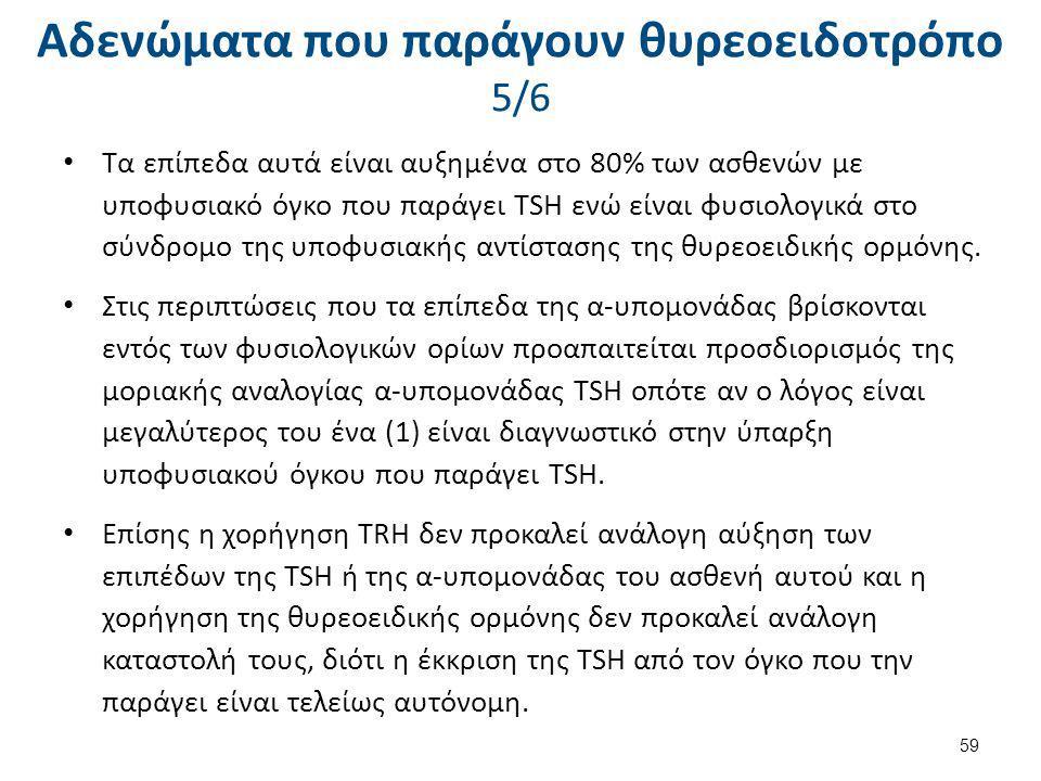 Αδενώματα που παράγουν θυρεοειδοτρόπο 5/6 Τα επίπεδα αυτά είναι αυξημένα στο 80% των ασθενών με υποφυσιακό όγκο που παράγει TSH ενώ είναι φυσιολογικά
