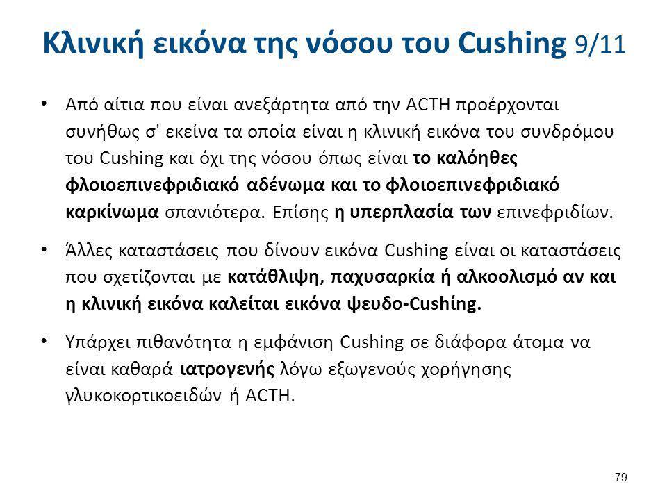 Κλινική εικόνα της νόσου του Cushing 9/11 Από αίτια που είναι ανεξάρτητα από την ACTH προέρχονται συνήθως σ' εκείνα τα οποία είναι η κλινική εικόνα το