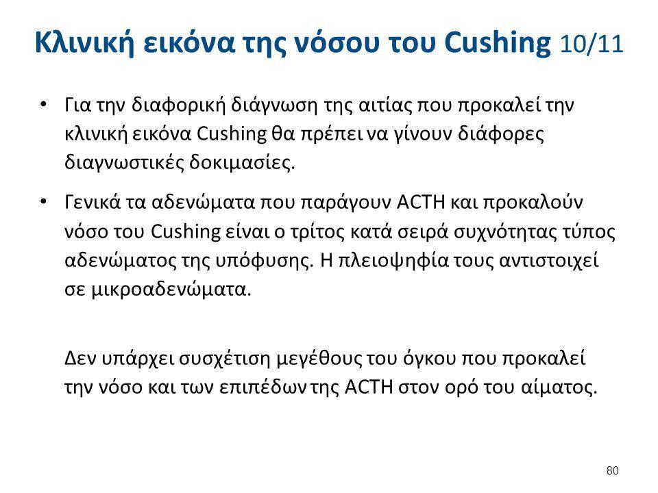 Κλινική εικόνα της νόσου του Cushing 10/11 Για την διαφορική διάγνωση της αιτίας που προκαλεί την κλινική εικόνα Cushing θα πρέπει να γίνουν διάφορες