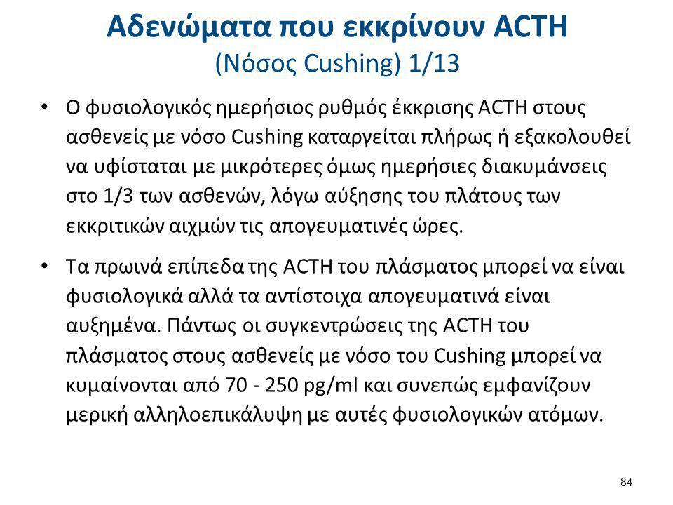 Αδενώματα που εκκρίνουν ACTH (Nόσος Cushing) 1/13 Ο φυσιολογικός ημερήσιος ρυθμός έκκρισης ACTH στους ασθενείς με νόσο Cushing καταργείται πλήρως ή εξ