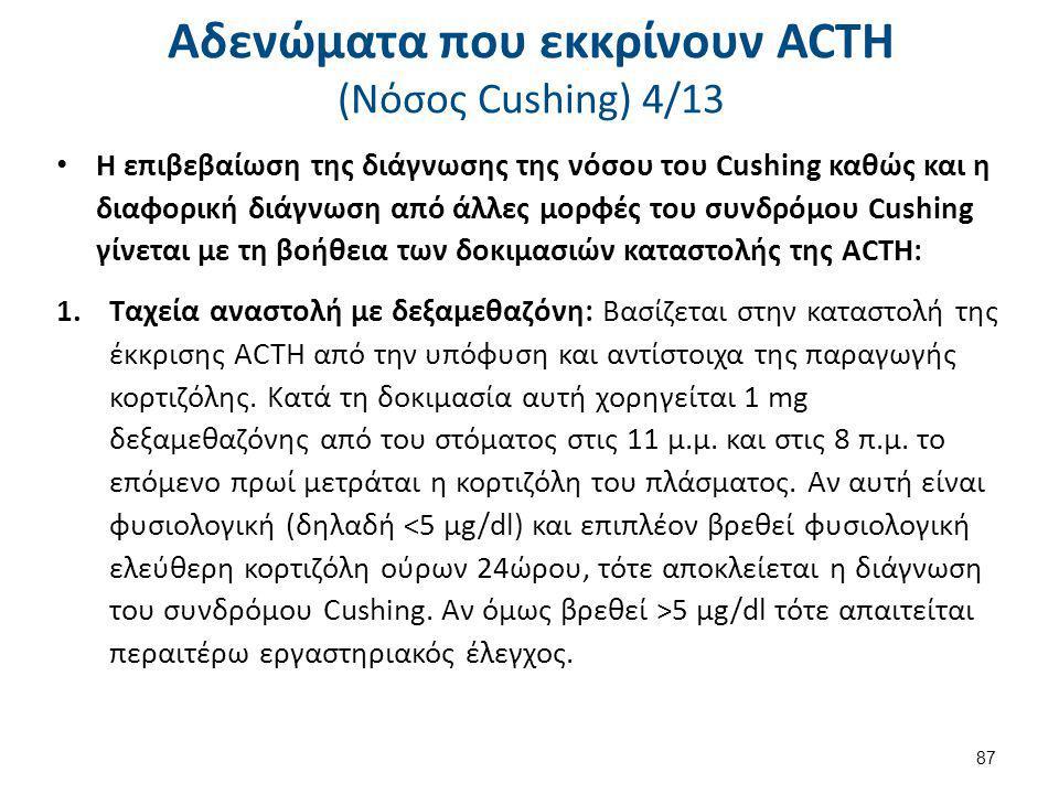 Αδενώματα που εκκρίνουν ACTH (Nόσος Cushing) 4/13 Η επιβεβαίωση της διάγνωσης της νόσου του Cushing καθώς και η διαφορική διάγνωση από άλλες μορφές το